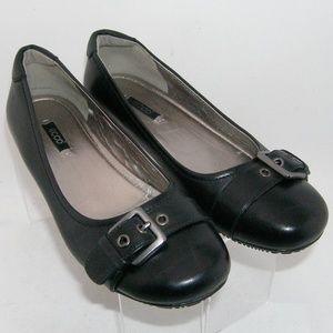 Ecco 'Bouillon' black leather buckle wedge 8 EU 39